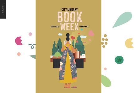 World Book Day graphics, woman cooking poster template, book week events. Modern flat vector concept illustrations of reading people - a woman reading a romance novel, boiling soup standing back