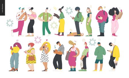 Waiting in line coronavirus - modern flat vector concept illustration of people standing in line wearing mask, talking to each other. Multicultural, multilingual people, coronavirus protection concept