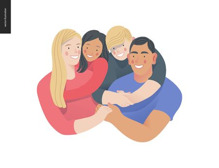 Happy international family with kids -family health and wellness -modern flat vector concept digital illustration of a happy family of parents and children, family medical insurance plan Ilustração