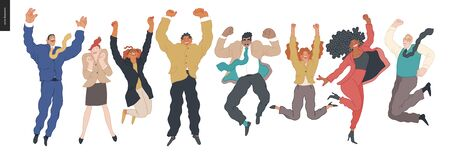 Happy business employees - group of men and women jumping in the air cheerfully. Modern flat vector concept illustration of a happy jumping office workers. Feeling and emotion concept. Ilustração