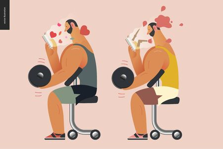 Weight lifting design template -World Book Day graphics -book week events. Modern flat vector concept illustrations of reading people -a brunette man lifting a dumbbell, reading a book Ilustração