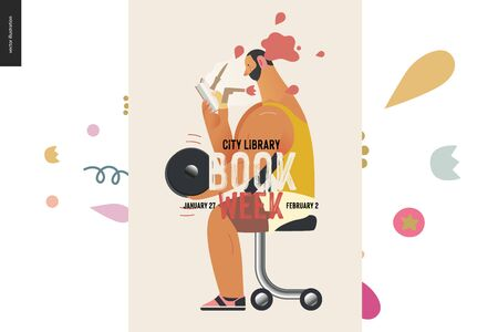 Weight lifting poster design template -World Book Day graphics -book week events. Modern flat vector concept illustrations of reading people - brunette man lifting a dumbbell, reading detective story