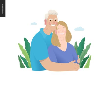 Medical insurance -senior citizen health plan -modern flat vector concept digital illustration of a happy elderly couple, standing embraced together holding their hands. Medical insurance plan. 일러스트