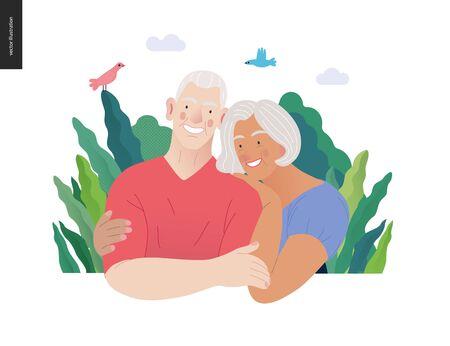 Medical insurance -senior citizen health plan -modern flat vector concept digital illustration of a happy elderly couple, standing embraced together holding their hands. Medical insurance plan. Illustration