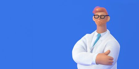 3D cartoon character. Medical insurance template -modern 3D concept digital illustration, doctor portrait. Young bearded man M.D. wearing glasses, white medical coat, tie, standing crossing his hands