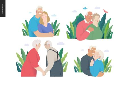 Medical insurance -senior citizen health plan -modern flat vector concept digital illustration of a happy elderly couple, standing embraced together holding their hands. Medical insurance plan. Ilustração