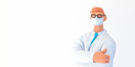 3D cartoon character. Medical insurance template -modern 3D concept digital illustration, doctor portrait. Young bearded man wearing mask, glasses, white medical coat, tie, standing crossing his hands Banco de Imagens
