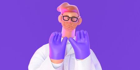3D cartoon character. Doctor of medicine, insurance template -modern 3D concept digital illustration. Young bearded man wearing glasses, medical coat, tie, showing his hands wearing latex gloves Banco de Imagens