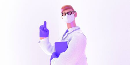 3D cartoon character. Attention. Doctor of medicine, insurance template -modern 3D illustration. Young bearded man wearing mask, glasses, medical coat, tie, pointing wearing latex gloves, holding folder