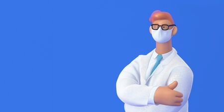 3D cartoon character. Medical insurance template -modern 3D concept digital illustration, doctor portrait. Young bearded man wearing mask, glasses, white medical coat, tie, standing crossing his hands Фото со стока