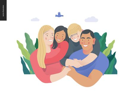 Happy international family with kids -family health and wellness -modern flat vector concept digital illustration of a happy family of parents and children, family medical insurance plan Illustration