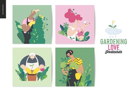Gardening people, spring - modern flat vector concept illustrated greeting cards of people in the garden wearing aprons and gloves, gardening, watering, planting, cutting branches. Gardening concept