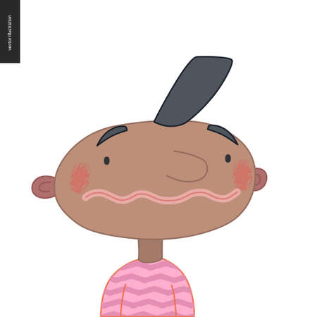 Bright characters portraits - hand drawn flat style vector design concept illustration of a smiling black little boy wearing pink, face and shoulders avatar. Flat style vector icon