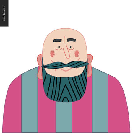Bright characters portraits - hand drawn flat style vector design concept illustration of a smiling adult black-bearded man, face and shoulders avatar. Flat style vector icon