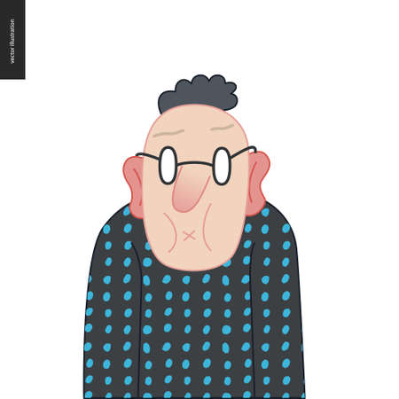 Bright characters portraits - hand drawn flat style vector design concept illustration of a man wearing glasses, face and shoulders avatar. Flat style vector icon