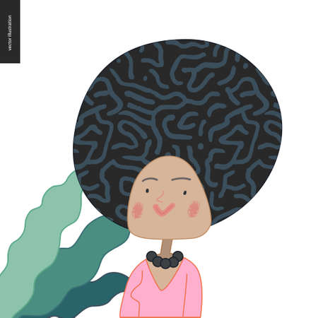 Bright characters portraits - hand drawn flat style vector design concept illustration of an adult black haired woman, face and shoulders avatar. Flat style vector icon Stock Illustratie