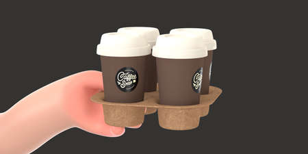 Coffee shop 3D render - barista -modern concept digital illustration of a hand holding paper coffee cups in the carton holder. Creative landing web page header