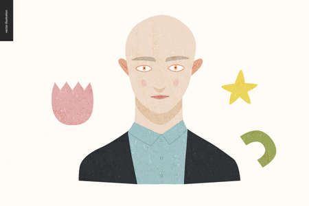 Beautiful people portrait - hand drawn flat style vector design concept illustration of a young bald person, face and shoulders avatar with texture. Flat style vector icon