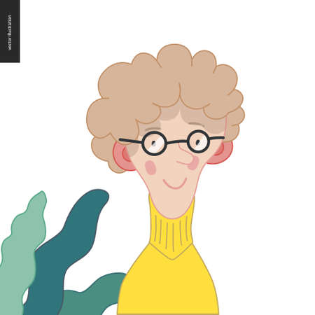 Bright characters portraits- hand drawn flat style vector design concept illustration of young fair-haired feminine man, wearing glasses, face and shoulders avatar. Flat style vector icon Stock Illustratie