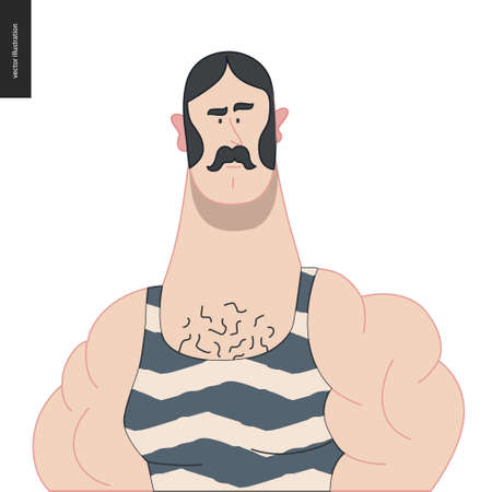 Bright characters portraits - hand drawn flat style vector design concept illustration of a young muscular moustached man, wering retro gym body suit -face and shoulders avatar. Flat style vector icon Stock Illustratie