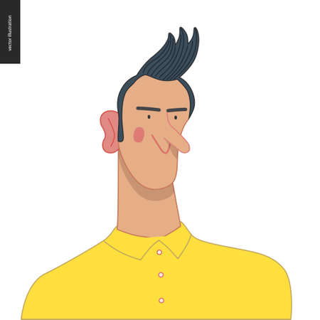Bright characters portraits - hand drawn flat style vector design concept illustration of a young man, face and shoulders avatar. Flat style vector icon
