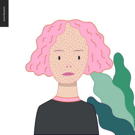 Bright characters portraits - hand drawn flat style vector design concept illustration of a smiling freckled pink-haired girl wearing black, face and shoulders avatar. Flat style vector icon Stock Illustratie