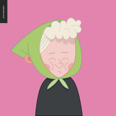 Bright characters portraits - hand drawn flat style vector design concept illustration of a smiling little old lady wearing kerchief, face and shoulders avatar. Flat style vector icon Stock Illustratie