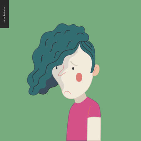 Bright characters portraits - hand drawn flat style vector design concept illustration of a sad teenage green-haired boy, face and shoulders avatar. Flat style vector icon
