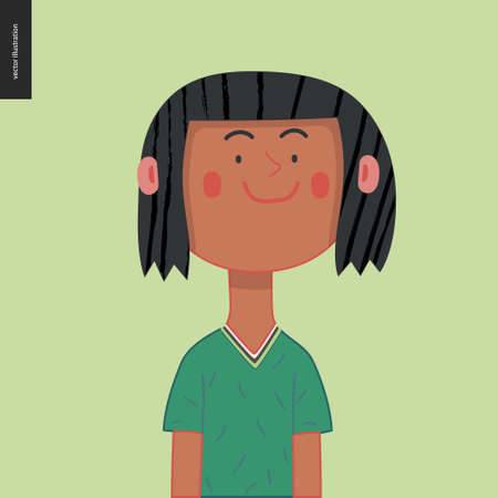 Bright characters portraits - hand drawn flat style vector design concept illustration of a smiling brunette girl, face and shoulders avatar. Flat style vector icon