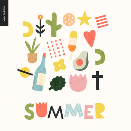 Summer lettering and primitive pattern with seasonal elements - flowers, avocado, ice cream, wine, saturn, heart, plants and a cross. Hand drawn flat style vector design, concept illustration