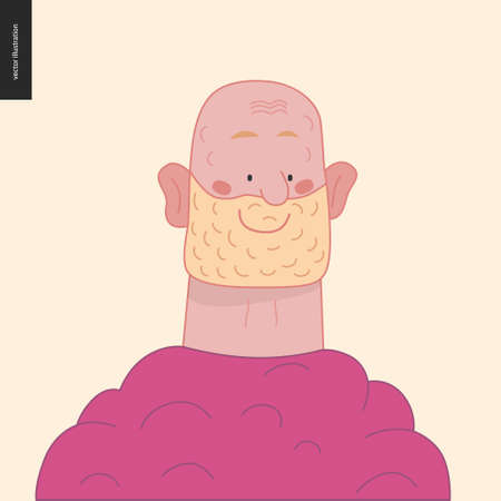 Bright characters portraits - hand drawn flat style vector design concept illustration of a smiling adult white-bearded man, face and shoulders avatar. Flat style vector icon Stock Illustratie