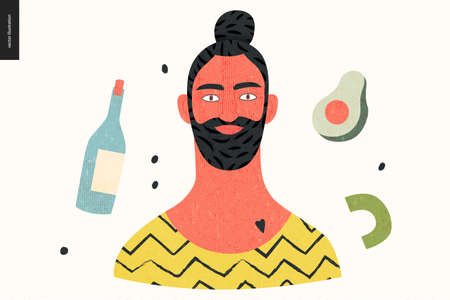 Beautiful people portrait - hand drawn flat style vector design concept illustration of a young bearded brunette man with a bun, face and shoulders avatar with texture. Flat style vector icon Ilustrace