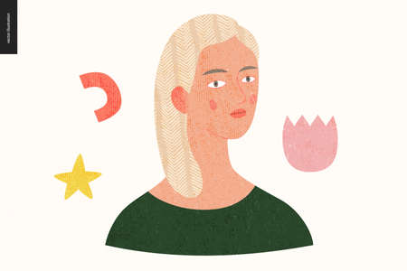 Beautiful people portrait - hand drawn flat style vector design concept illustration of a young blonde woman, face and shoulders avatar with texture. Flat style vector icon