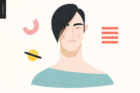 Beautiful people portrait - hand drawn flat style vector design concept illustration of a young black-haired asian man, face and shoulders avatar with texture. Flat style vector icon Ilustrace