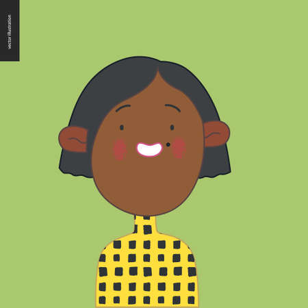 Bright characters portraits - hand drawn flat style vector design concept illustration of a smiling black little girl wearing yellow, face and shoulders avatar. Flat style vector icon