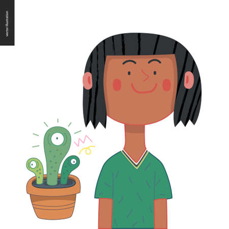 Bright characters portraits - hand drawn flat style vector design concept illustration of a smiling brunette girl, face and shoulders avatar and an eyed plant in the pot. Flat style vector icon