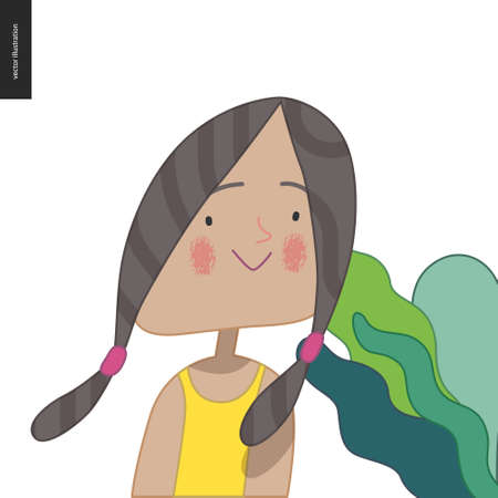 Bright characters portraits - hand drawn flat style vector design concept illustration of a smiling little girl wearing yellow, face and shoulders avatar. Flat style vector icon