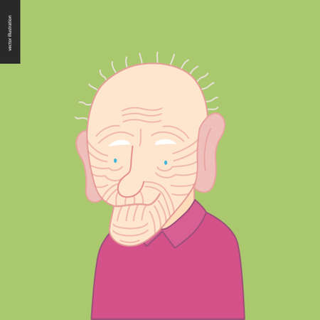 Bright characters portraits - hand drawn flat style vector design concept illustration of a smiling bald elderly man wearing purple, face and shoulders avatar. Flat style vector icon