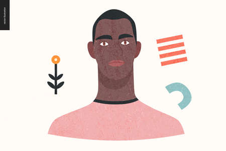 Beautiful people portrait - hand drawn flat style vector design concept illustration of a young black man, face and shoulders avatar with texture. Flat style vector icon