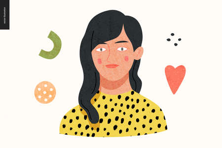 Beautiful people portrait - hand drawn flat style vector design concept illustration of a young brunette woman, face and shoulders avatar with texture. Flat style vector icon