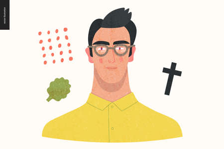 Beautiful people portrait - hand drawn flat style vector design concept illustration of a young brunette man wearing glasses, face and shoulders avatar with texture. Flat style vector icon