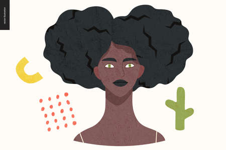 Beautiful people portrait - hand drawn flat style vector design concept illustration of a young black woman with afro hair, face and shoulders avatar with texture. Flat style vector icon
