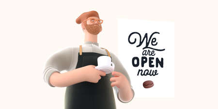 Coffee shop 3D render - barista -modern concept digital illustration of a bearded red haired young man wearing apron holding a coffee cup on a saucer. Creative landing web page header
