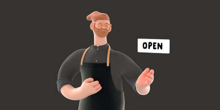 Coffee shop 3D render - barista -modern concept digital illustration of a bearded red haired young man wearing apron pointing a plate Open. Creative landing web page header