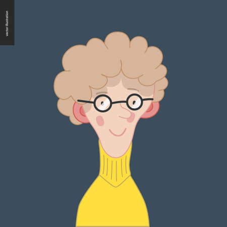 Bright characters portraits- hand drawn flat style vector design concept illustration of young fair-haired feminine man, wearing glasses, face and shoulders avatar. Flat style vector icon Ilustrace