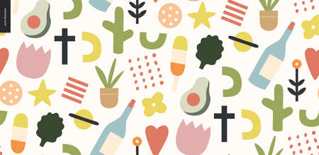 Summer primitive seamless pattern with traditional seasonal elements - flowers, avocado, ice cream, wine, saturn, heart, plants and a cross. Hand drawn flat style vector design, concept illustration