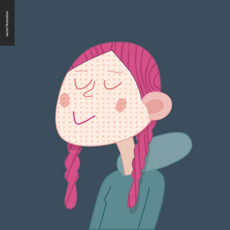 Bright characters portraits - hand drawn flat style vector design concept illustration of a smiling freckled red-haired girl wearing hoody, face and shoulders avatar. Flat style vector icon Ilustrace