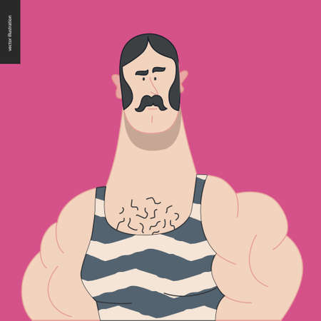 Bright characters portraits - hand drawn flat style vector design concept illustration of a young muscular moustached man, wering retro gym body suit -face and shoulders avatar. Flat style vector icon Ilustração