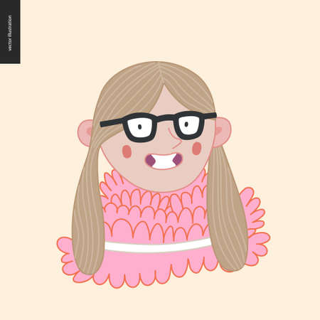 Bright characters portraits - hand drawn flat style vector design concept illustration of a smiling little girl wearing glasses, face and shoulders avatar. Flat style vector icon