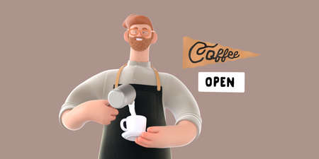 Coffee shop 3D render - barista -modern concept digital illustration of a bearded red haired young man wearing apron pouring whipped milk into the coffee cup. Creative landing web page header